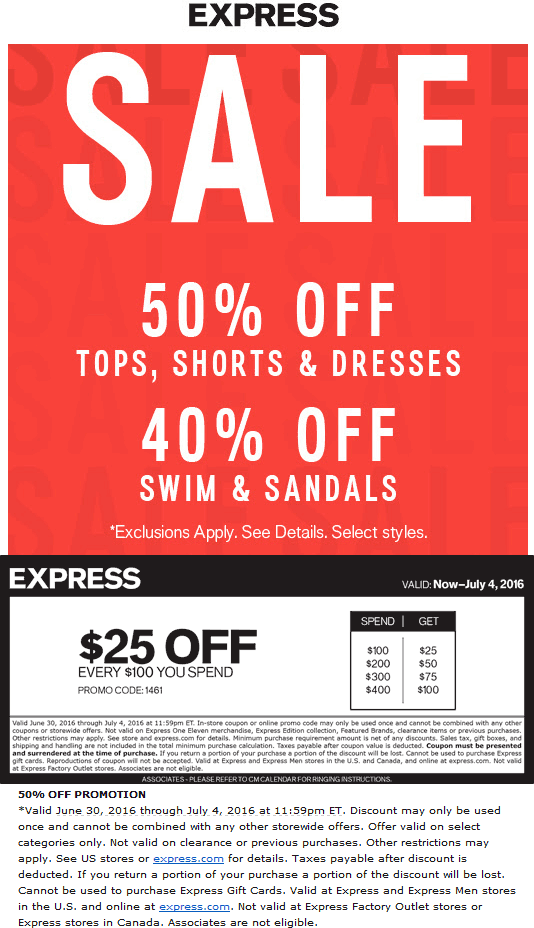 Pinned June 30th  50% off +  25 off every  100 at  Express or online via  promo code 1461  TheCouponsApp 2cccc082e6