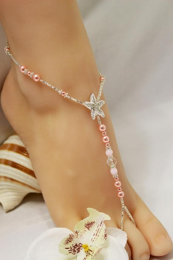 Pearl Pink Rhinestone Barefoot Sandals Jewelry & Watches