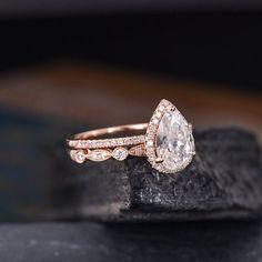 Pear Shaped Moissanite Engagement Ring Rose Gold 6X9mm Bridal Set Halo Diamond W...,  #6x9mm #Artdecoengagementringpearl #Bridal #Diamond #Engagement #Gold #Halo #Moissanite #Pear #Ring #Rose #Set #shaped