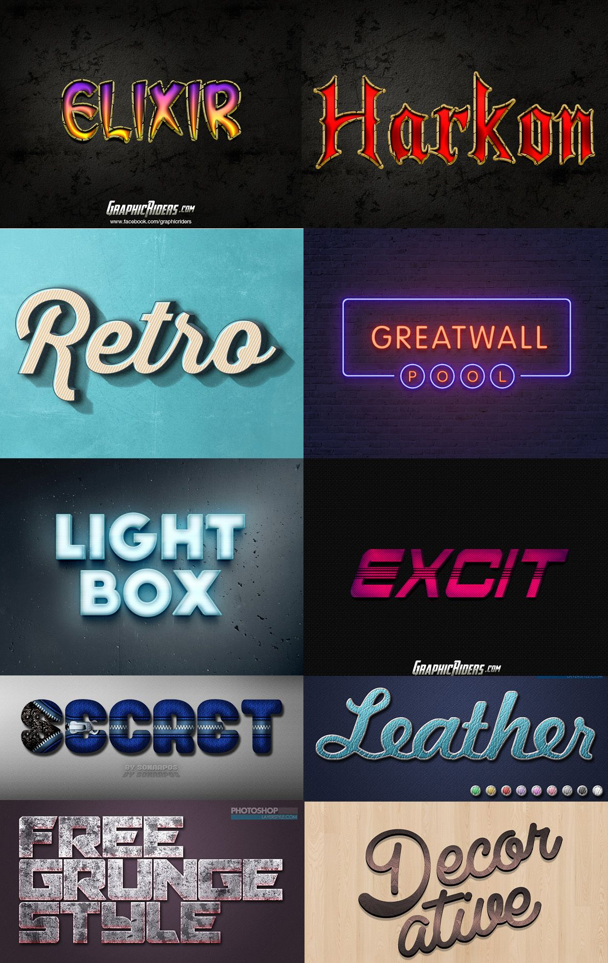 35+ Free Photoshop Layer Styles To Create Awesome Text ...