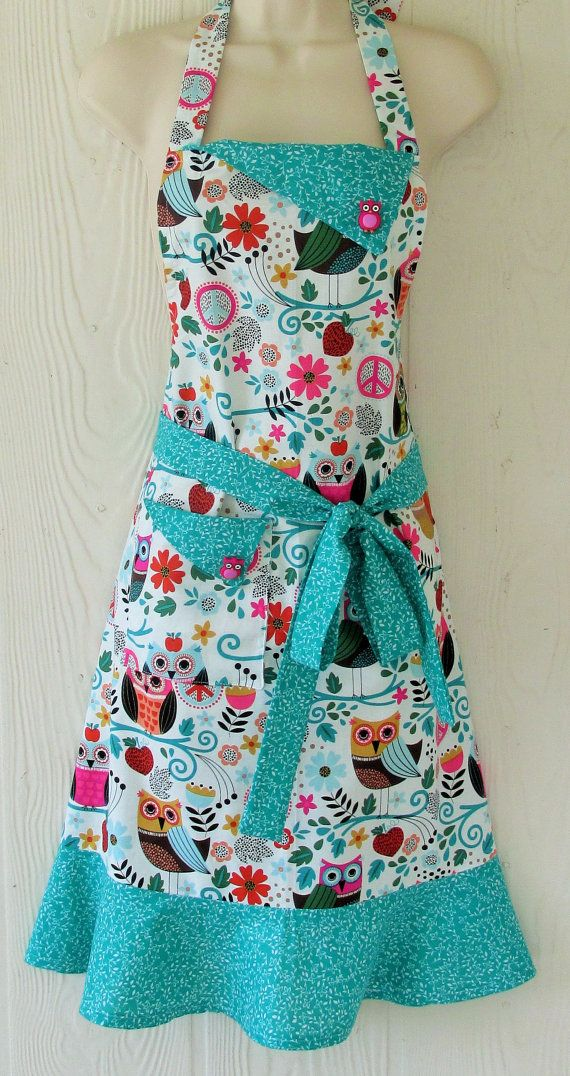 Colorful Owl Apron  Cute Owls  Vintage Inspired  by KitschNStyle