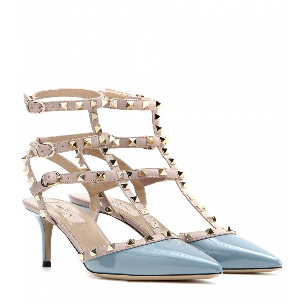 0c98fbd29b Valentino - Rockstud patent leather kitten-heel pumps - mytheresa.com