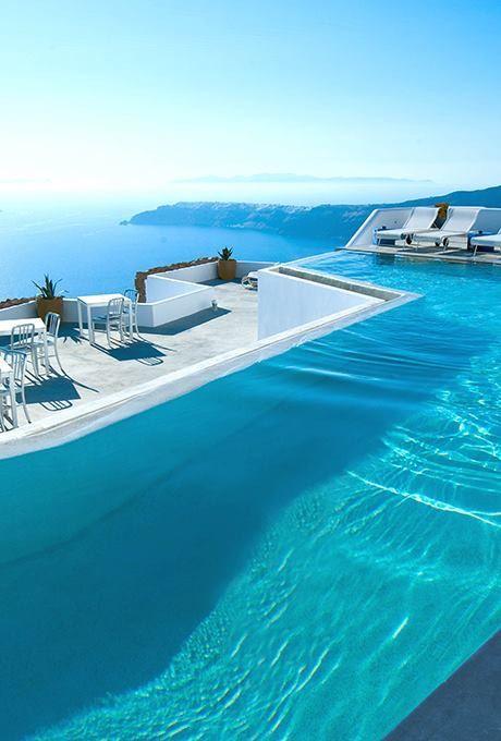 Pin By Kendall Eyman On Splashy Pools Amazing Swimming Pools Santorini Hotels Beautiful Pools