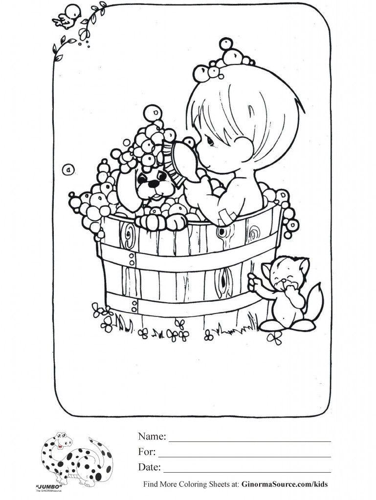 Coloring Page Precious Moments Bubble Bath Precious Moments