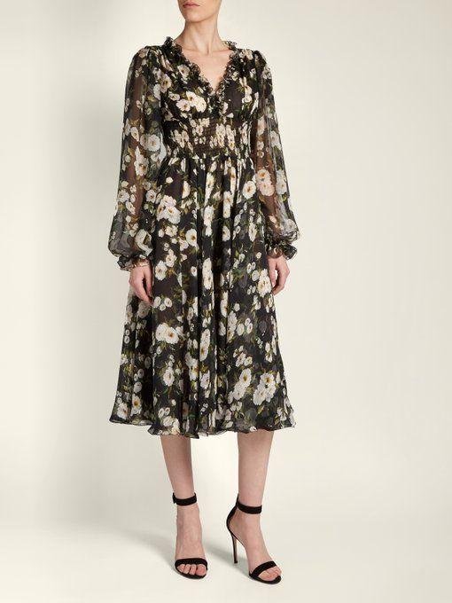 Floral Imprimé Robe De Mousseline Garni De Volants-dolce & Gabbana lB7SMijw