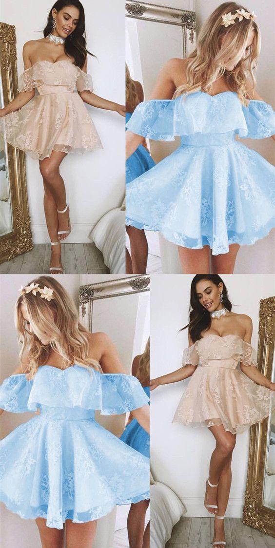 Light Blue Short Off The Shoulder Backless Lace Homecoming Dresses C44