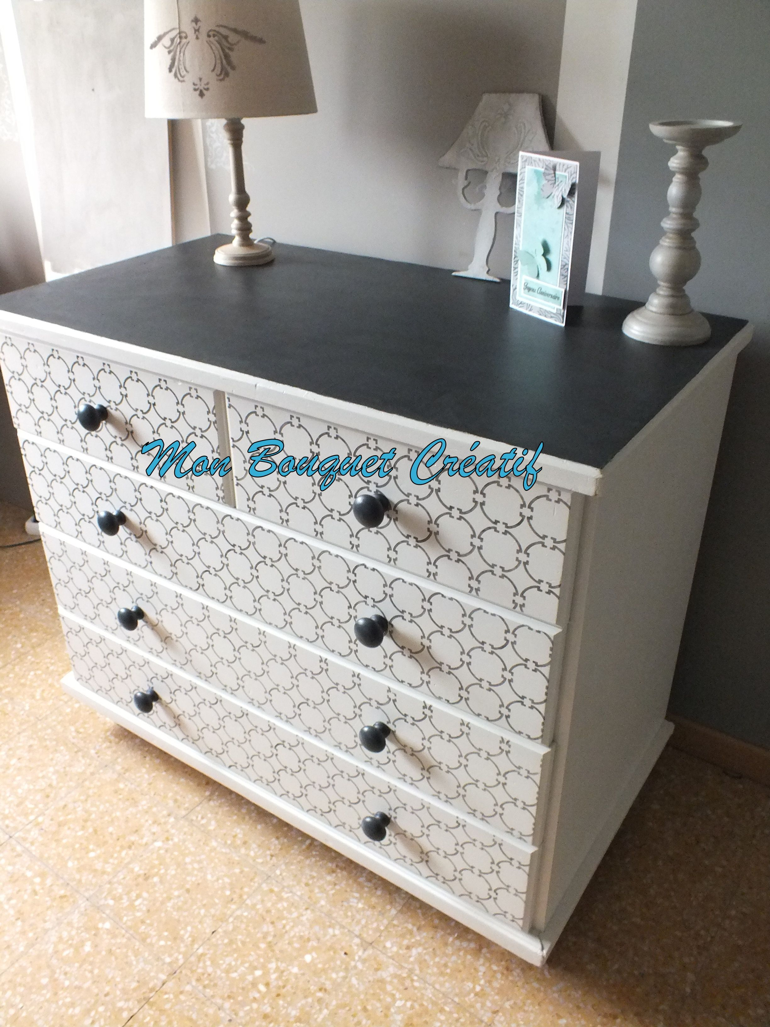 commode plateau b ton charbon meringue et pochoir. Black Bedroom Furniture Sets. Home Design Ideas