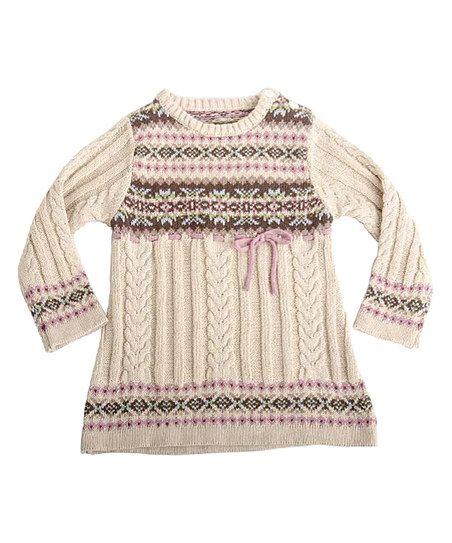 Beige & Pink Sweater Dress - Infant | zulily