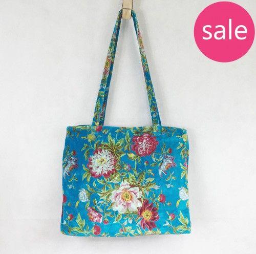 Turquoise Floral Velvet Tote Bag (large)