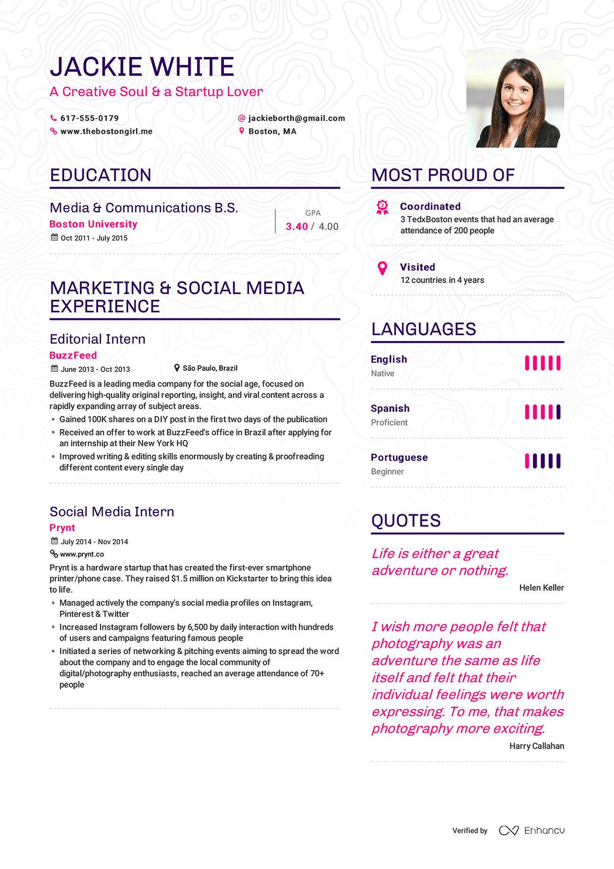 enhancv example resume jackie white page 1