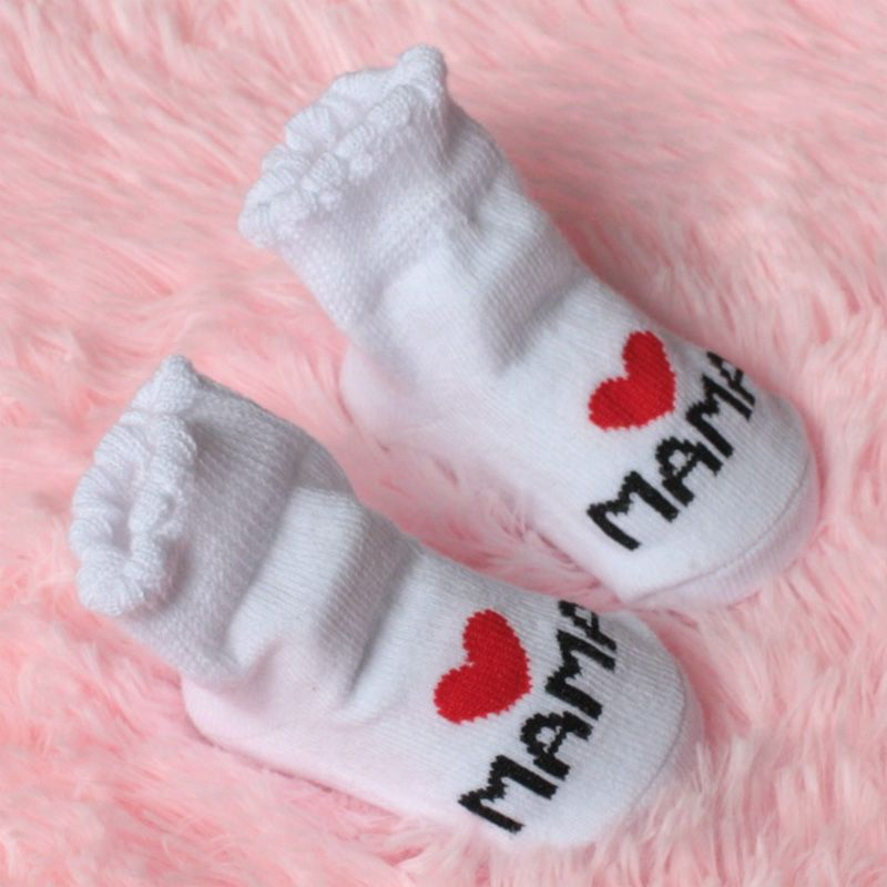 Baby Infant Boy Girl Slip-resistant Floor Sock Love Mama Papa Letter Stripe Sock
