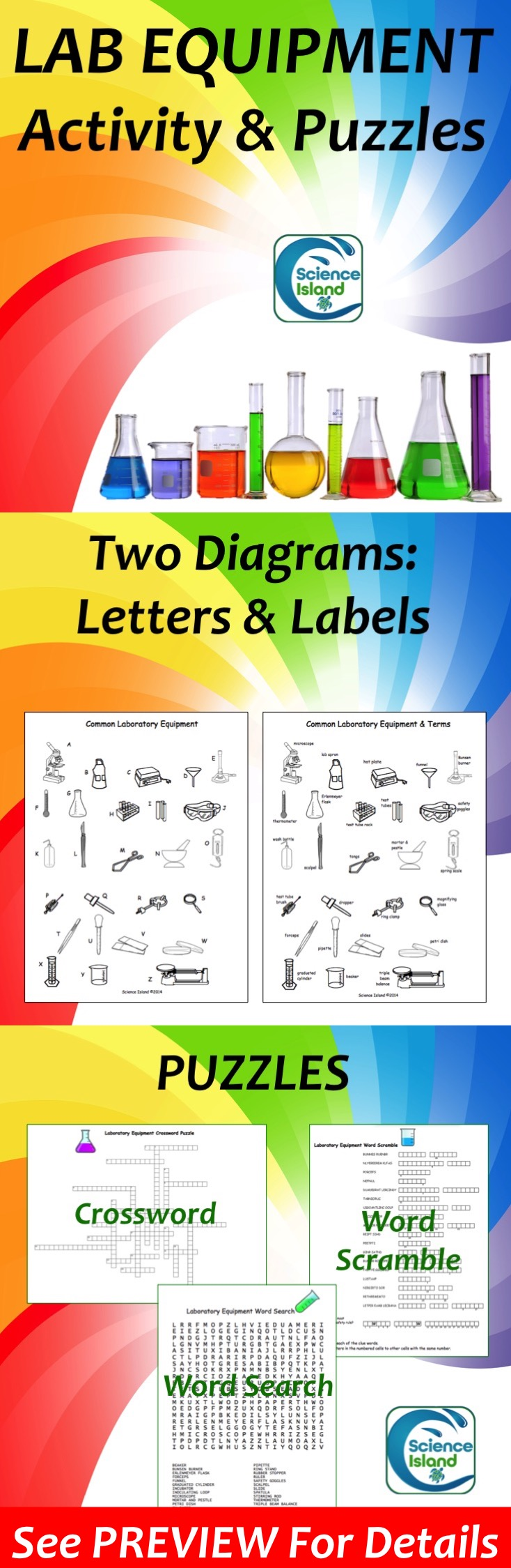 Lab Equipment Activity And Puzzles Lab Equipment Worksheets And