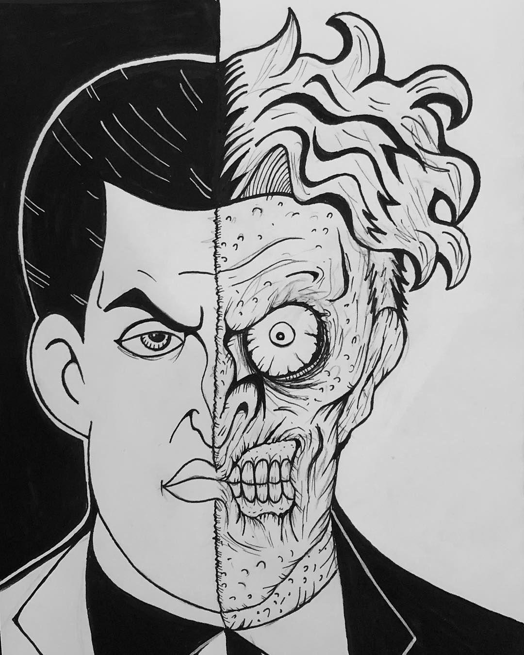 Two faces #twoface #harveydent #batman #batmantattoo #comics #cartoons #animated #90s #warnerbrosstudios #arkhamasylum #gangster #gangsta #gangstatattoo #scarface #theworldisyours #sides #drawing #draw