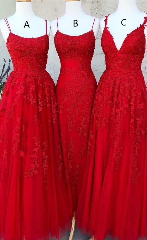 3 Types Tulle Prom Dresses With Appliques Long Evening Gowns    ML3092