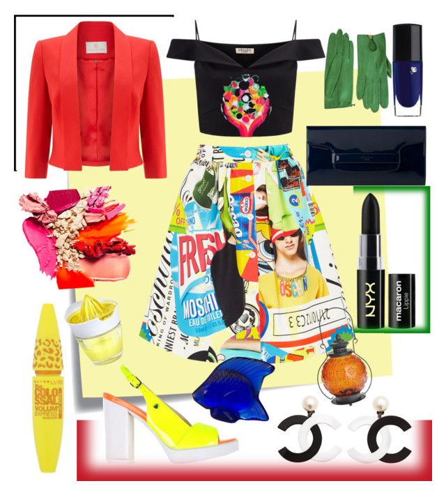 """""""Explosion"""" by dezifashioncollection on Polyvore featuring Post-It, Moschino, Lipsy, Jacques Vert, Love Moschino, L.K.Bennett, NYX, Lancôme, Maybelline and Lalique"""
