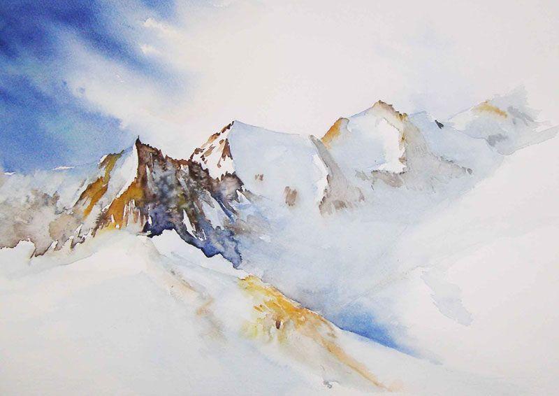 Tableau Peinture Paysage Aquarelle Neige Montagne Hiver Paysages