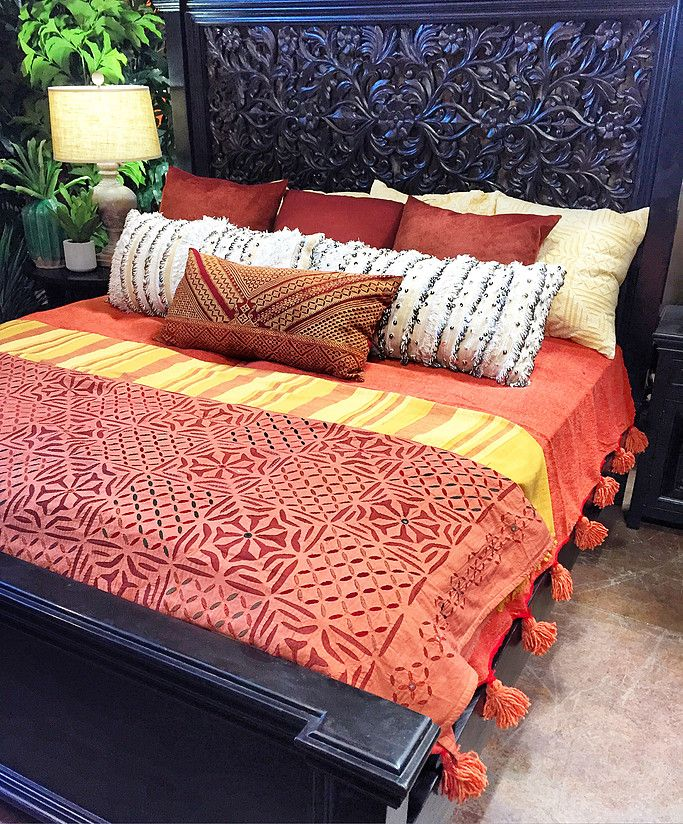 Gorgeous carved king bed - layers of Indian textiles, handira pillows, warm and cozy! Tierra Del Lagarto - Scottsdale Furniture Store