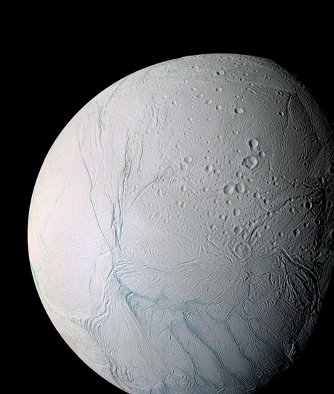Enceladus, as captured by Cassini on March 9, 2006. The moon's intriguing south pole is towards the bottom of the image.
