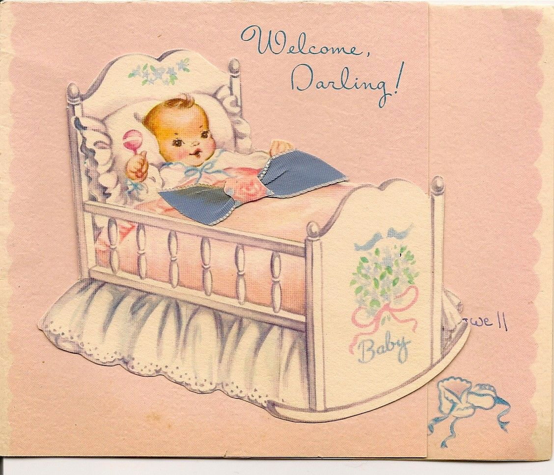 Welcome Baby Girl Vintage Carriage Greeting Card