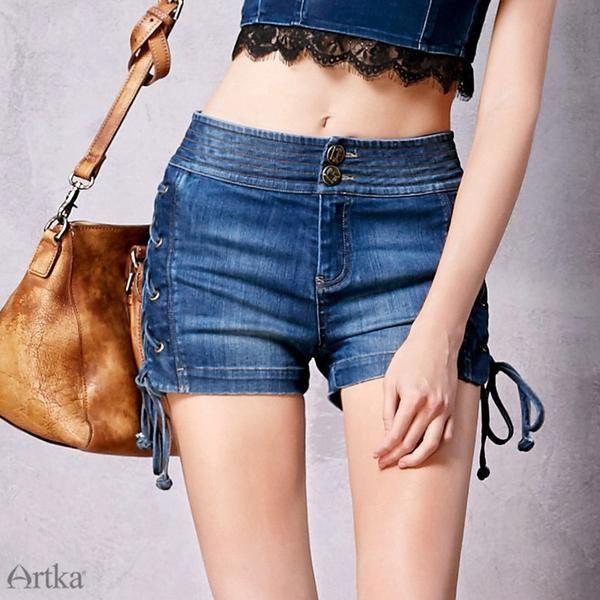 Boho Side Laces Elastic Waist Comfy Denim Shorts | Shorts ...