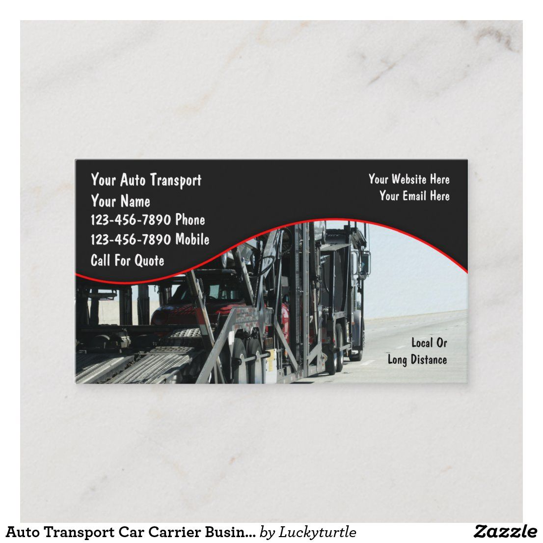 Auto transport car carrier business cards in