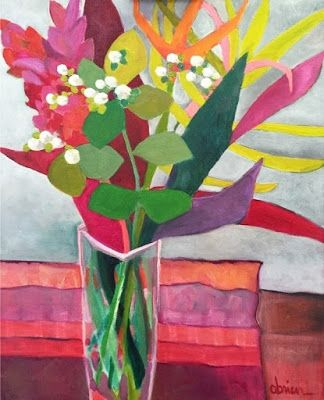 "Daily Painters Abstract Gallery: Contemporary Expressionist Still Life Flower Art Painting ""Maui Memories"" by Santa Fe Artist Annie O'Brien Gonzales"