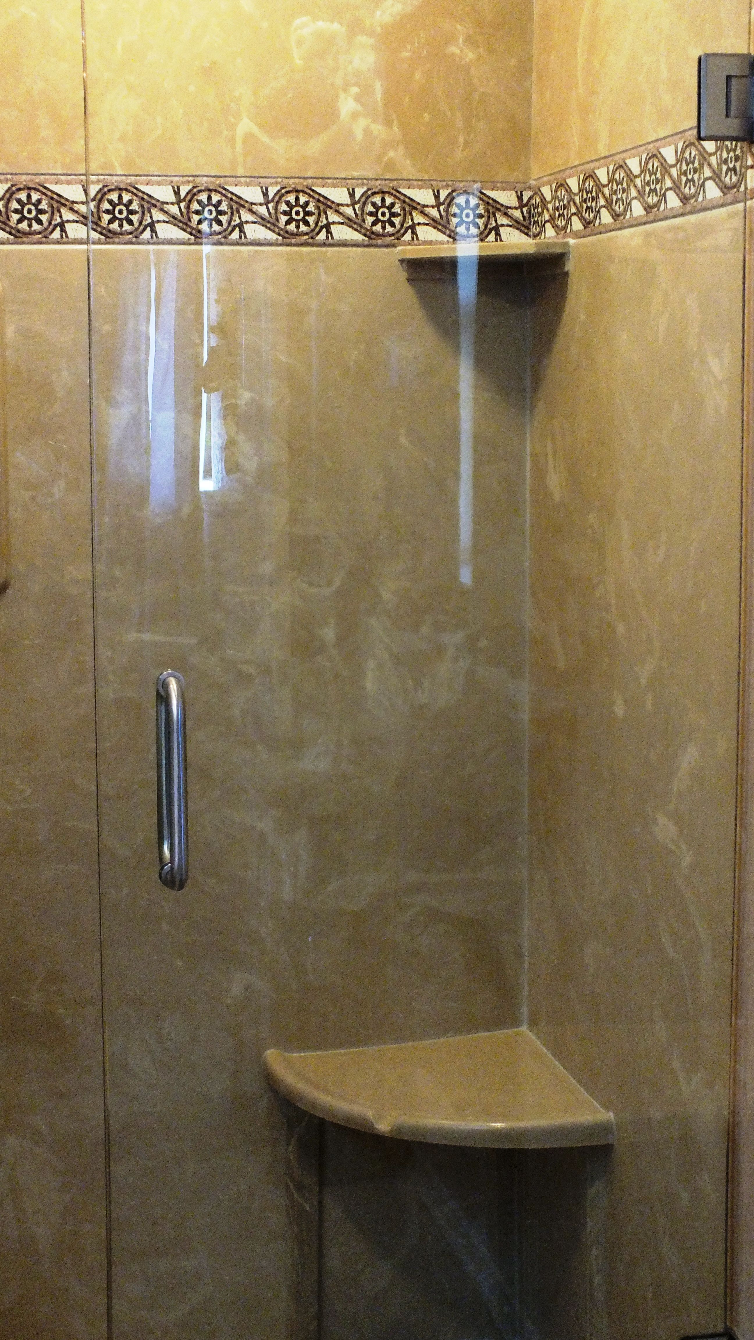 Beautiful Tuscan Sand Walls With Rieti Listello Trim, Heavy Glass Shower  Door U0026 Panel, Corner Seat, Corner Shelves U0026 Recessed Soap Holder