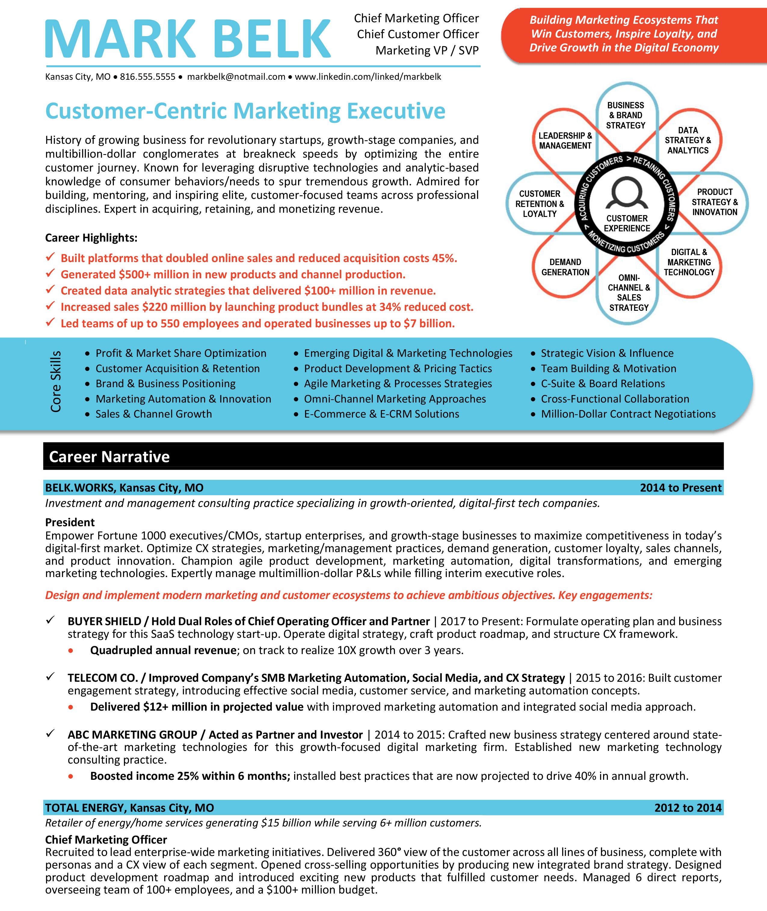 Chief Marketing Officer Cmo Chief Customer Officer Cco Resume Sample Chief Marketing Officer Marketing Resume Executive Resume