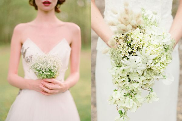 Really like the small and simple bridesmaid bouquet on the left. Also, I like the shape of the bride bouquet on the right and that its not constrained to a tight sphere the way a lot of bouquets are shaped.