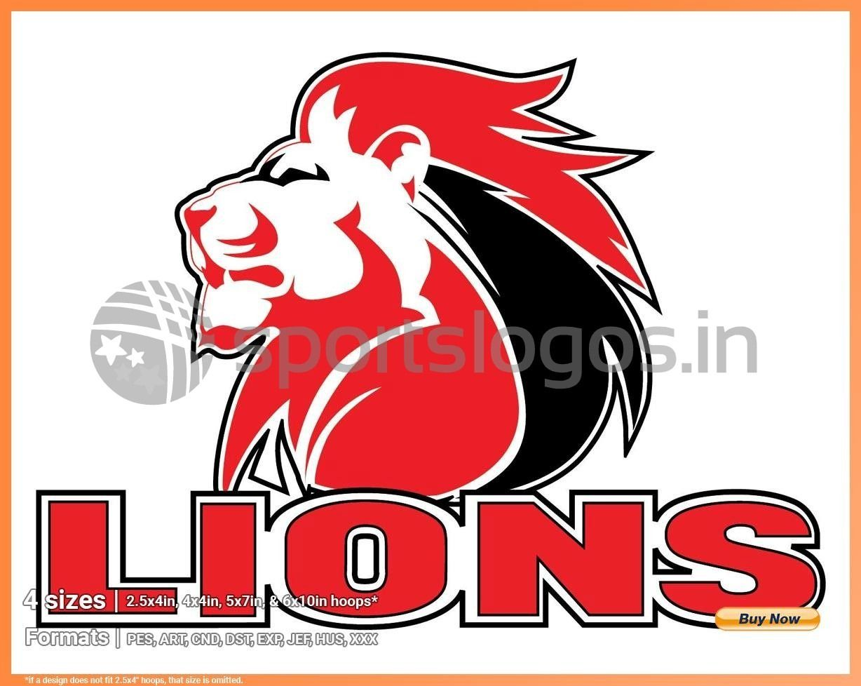 Lions Misc Sports Embroidery Logo In 4 Sizes Spln002372 Sports Logos Embroidery Vector For Nfl Nba Nhl Mlb Milb And More In 2020 Lions Rugby Rugby Logo Super Rugby
