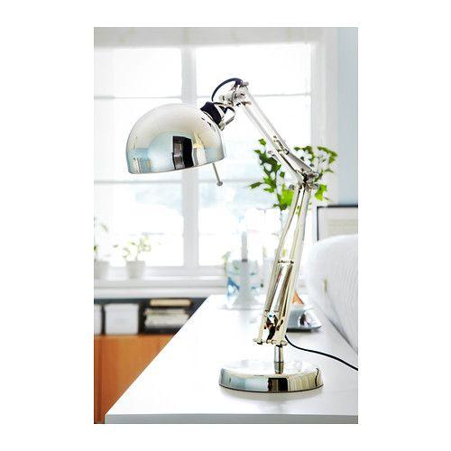 FORSÅ Lampa biurkowa niklowano | Work lamp, Ikea lamp