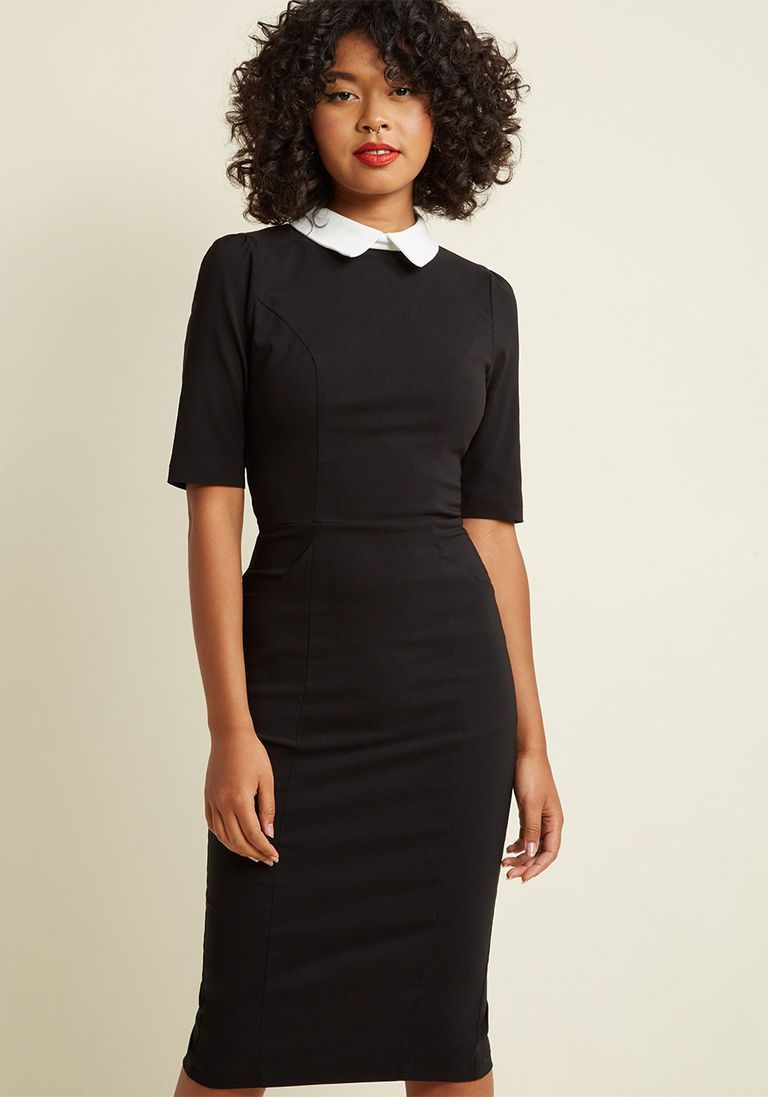 b167625eddae Collectif Make My Wednesday Fitted Midi Dress in XXL - Short Sleeve Sheath  by Collectif from