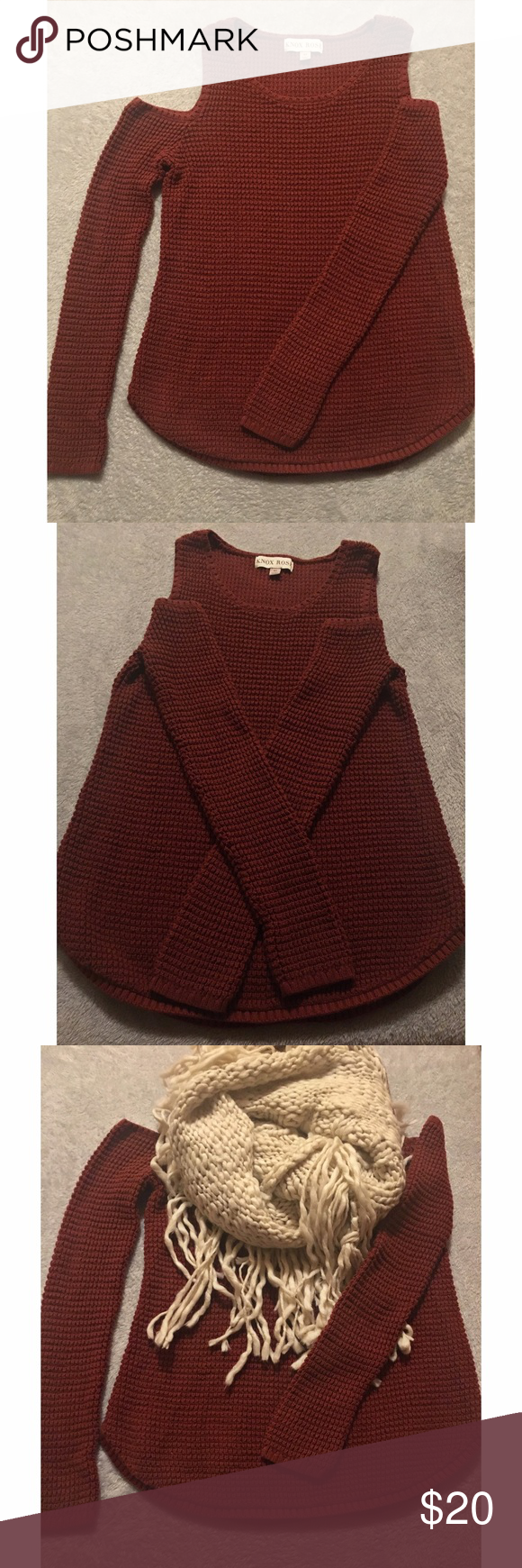 XS-Knox Rose Cold Shoulder Sweater (Burnt Orange) Shoulder cut out, worn twice (like new) excellent condition, Burnt Orange/Reddish color, 100% cotton *scarf sold separately* Knox Rose Sweaters