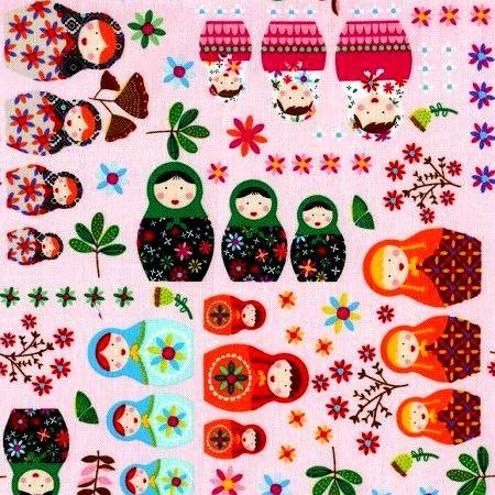 Cotton Quilt Fabric Matryoshka Doll Russian Nesting Dolls Pink Multi - product images  of