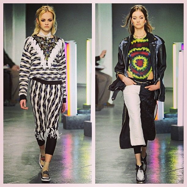 Feeling the 90's grunge at Rodarte, nostalgic tie-dyes & heavily embellished crystal studded sweaters #nyfw #mbfw #aw13 #fall13 #fashion #trends #runway