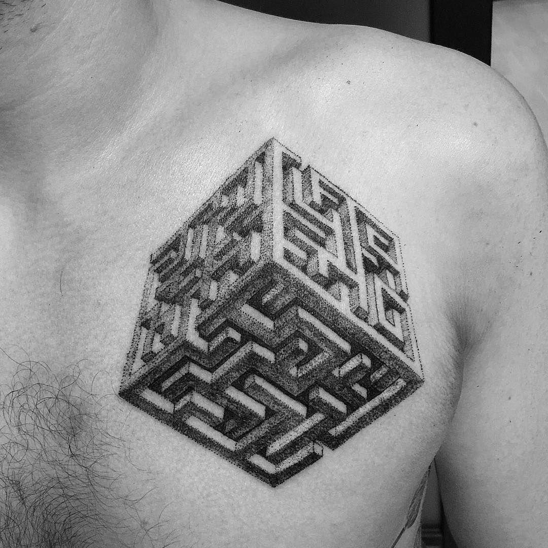maze cube tattoo dotwork blackwork tattoo pinterest blackwork tattoo and geometric tattoos. Black Bedroom Furniture Sets. Home Design Ideas