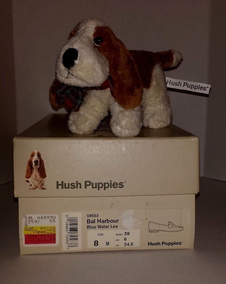 Vintage Hush Puppies Stuffed Dog Toy Shoe Box World Wide Russ Berrie Co Russ Puppy Box Dog Toys Hush Puppies