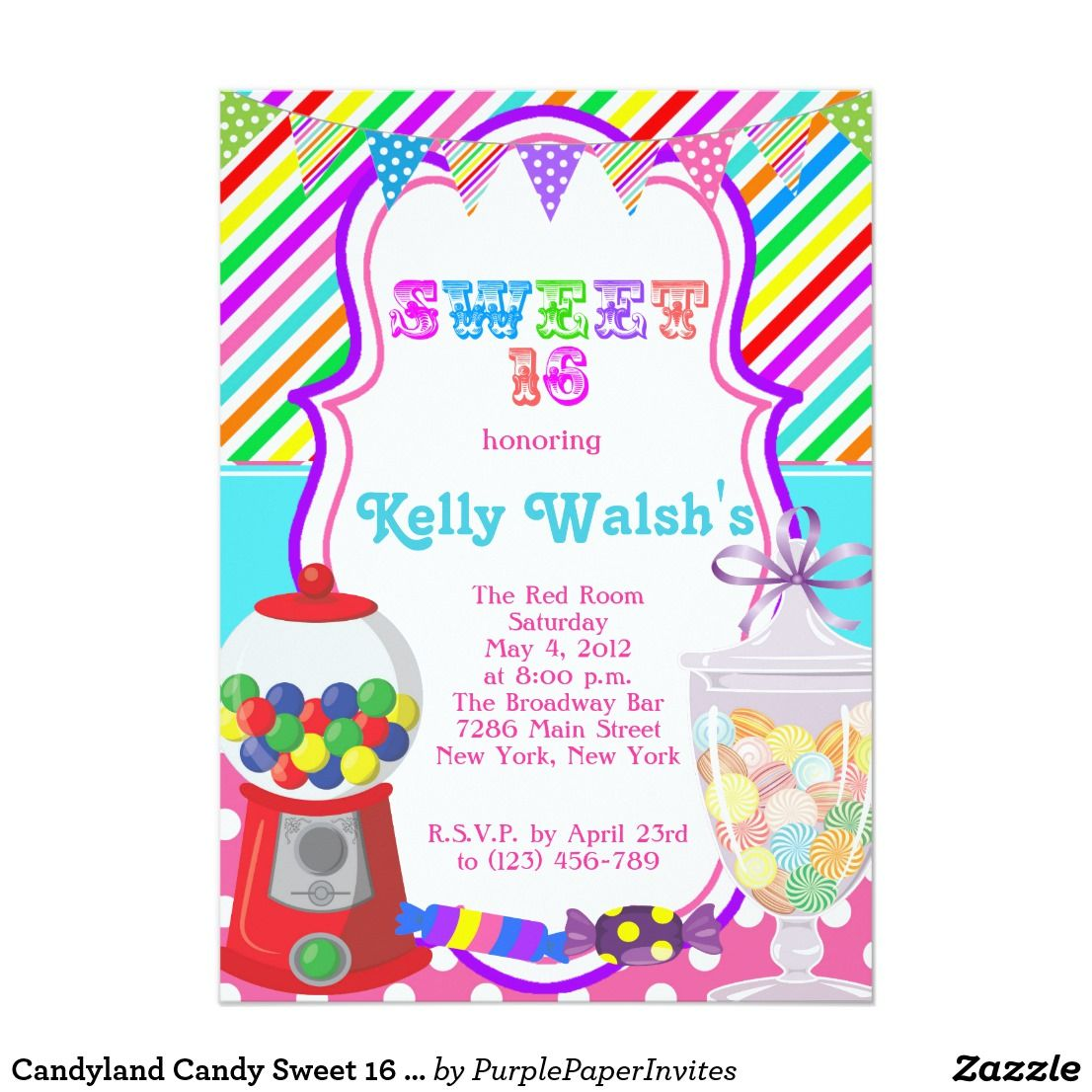 Candyland Candy Sweet 16 Birthday Invitation | Sweet 16, Sweet 16 ...