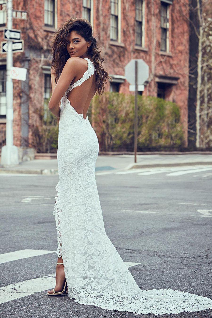Brautkleider mit tiefem Rücken  Schlitz brautkleid