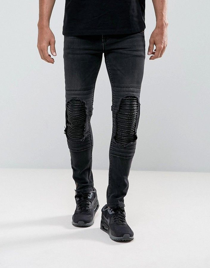 ASOS Super Skinny Jeans In Washed Black Biker With Leather Look Rip And  Repair
