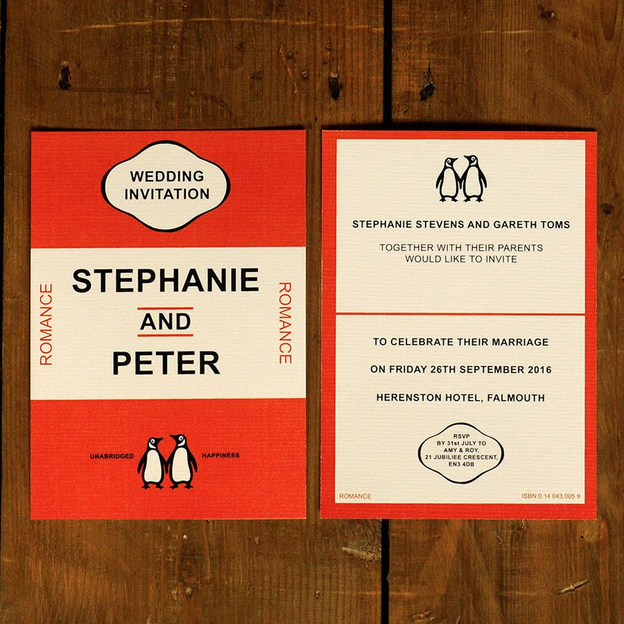 Penguin Classic Wedding Invitations And Save The Date | Wedding ...