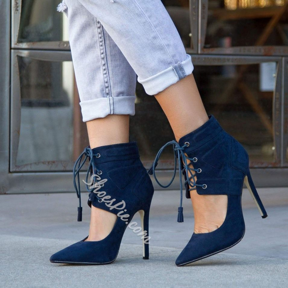 Blue Lace Up Stiletto Heel Ankle Boots