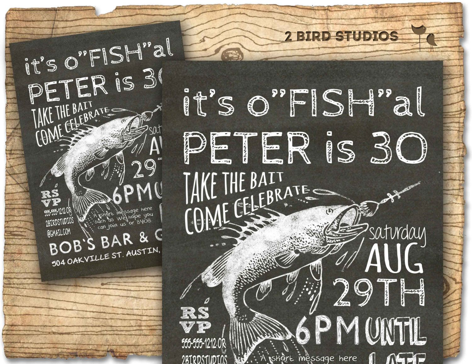 Fishing invitation - 30th birthday invitation 40th 50th Surprise ...