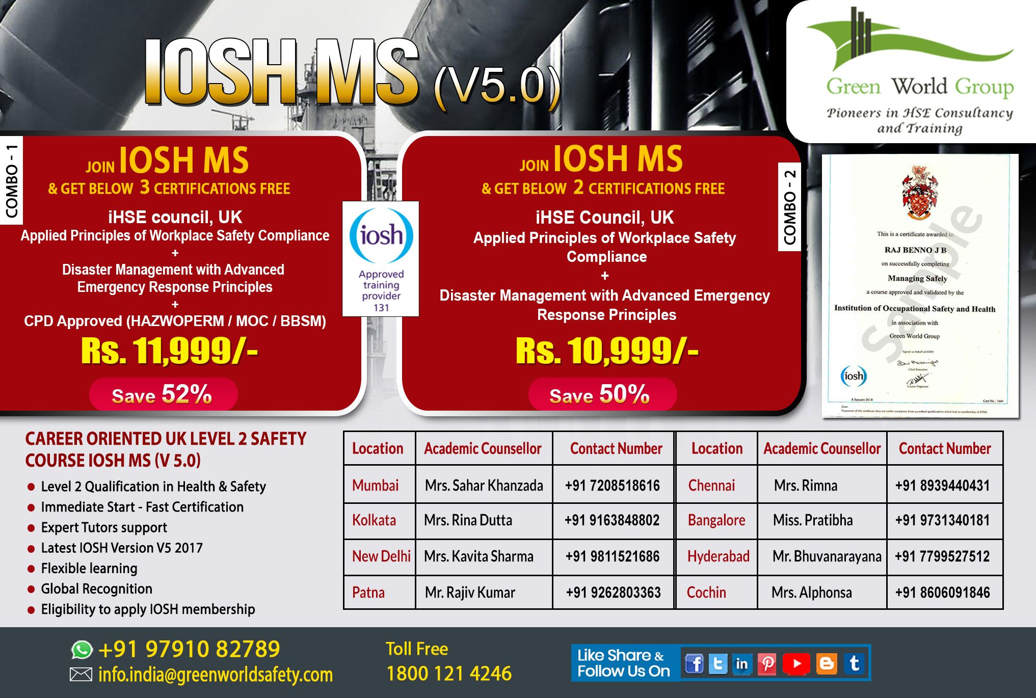 IOSH MS Course in Cochin Hyderabad Bangalore Kolkata