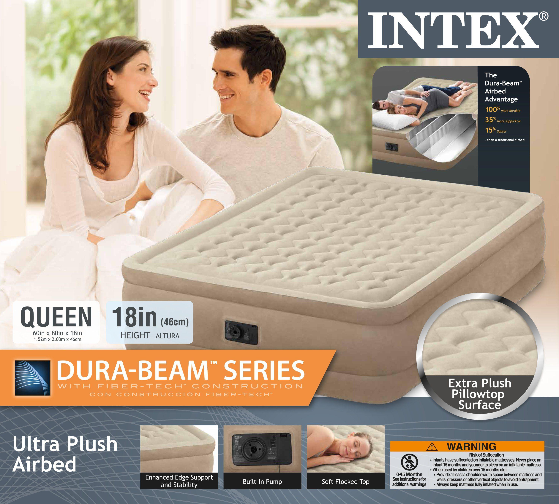 Intex Queen Ultra Plush Fiber-Tech Airbed Air Mattress Bed with Built-In Pump