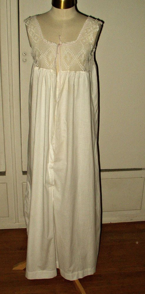Antique Edwardian White Cotton Nightgown Hand Filet Crochet Yoke Ribbon Tie   nobrand 839601645