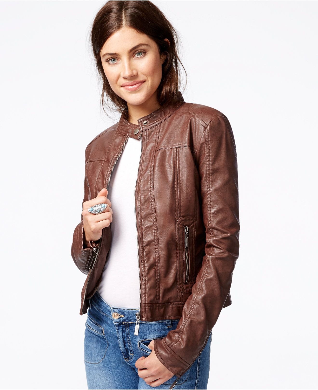 Jou Jou Faux Leather Moto Jacket Coats Women Macy S Faux Leather Moto Jacket Leather Coat Womens Faux Leather Jacket Women