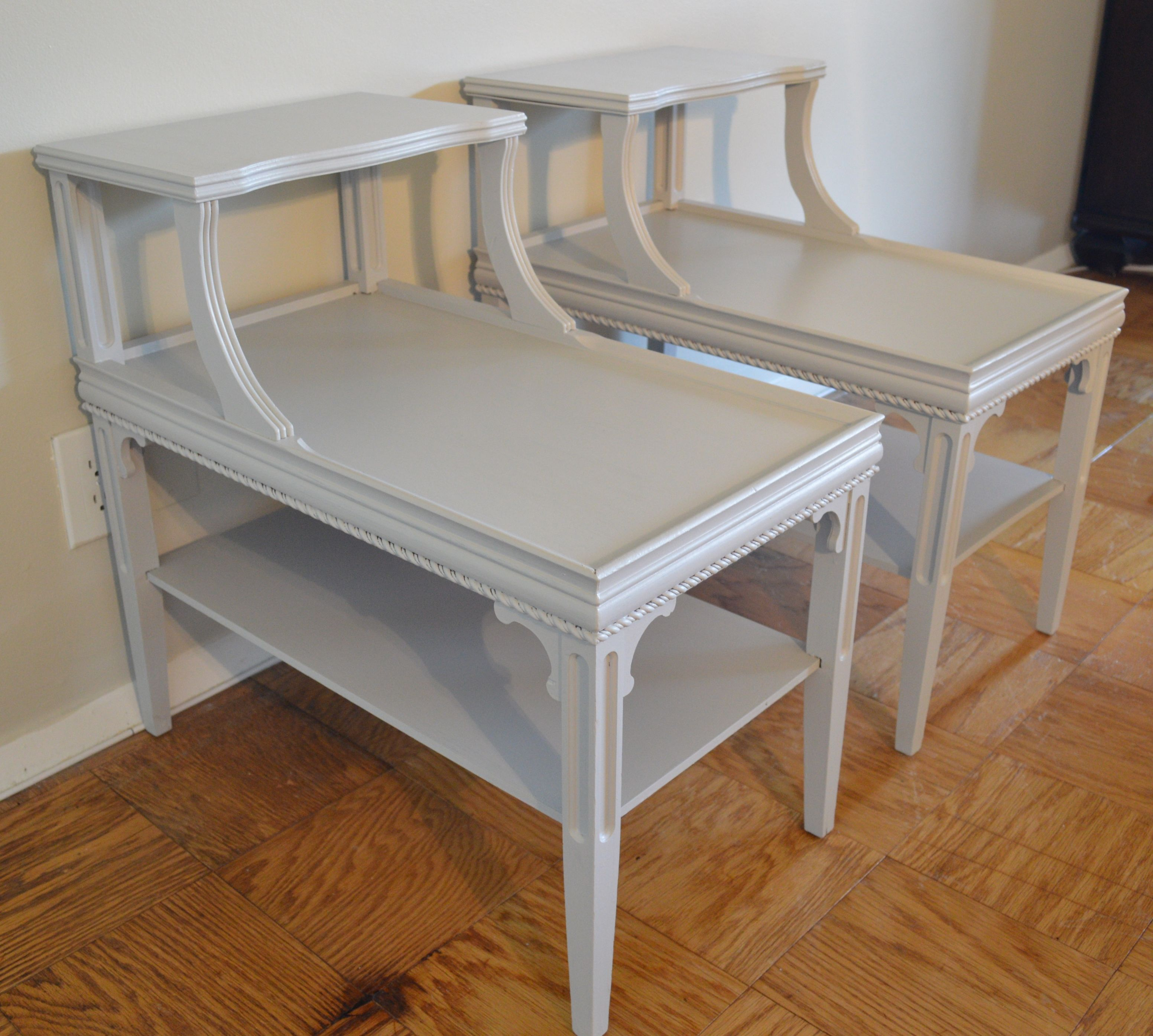 End Table Paint Ideas Pair Of Vintage 1940s Step End Tables Refinished With Milk Paint