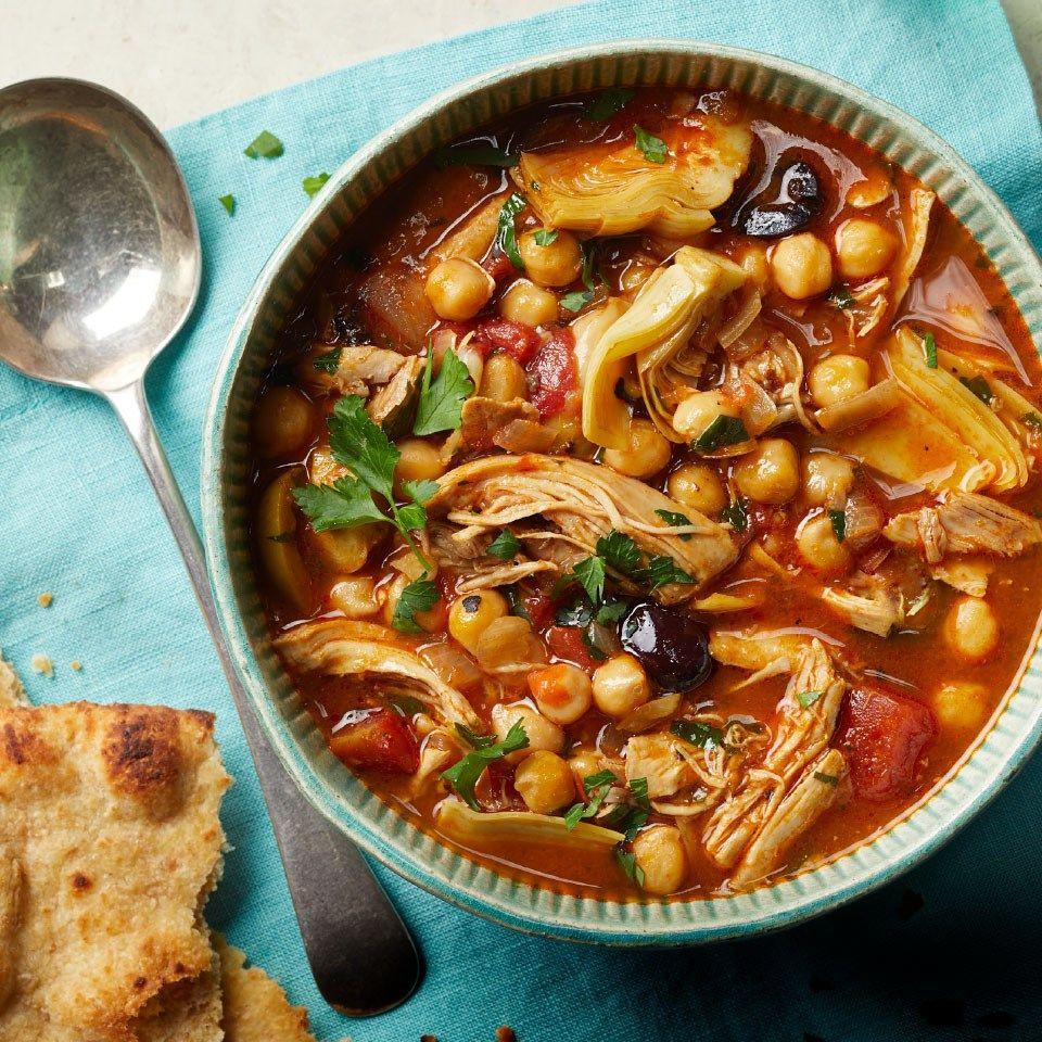 Slow-Cooker Mediterranean Chicken & Chickpea Soup