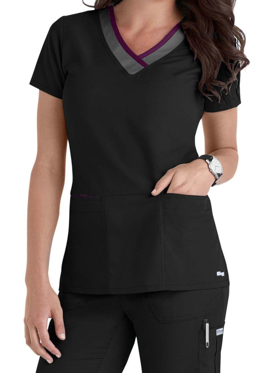 0ff627f56105b #nursinguniforms #medicalscrubs Grey's Anatomy Color Block 3-pocket V-neck Scrub  Tops - Black/Granite/Romance - 4X:… #uniforms #scrubs